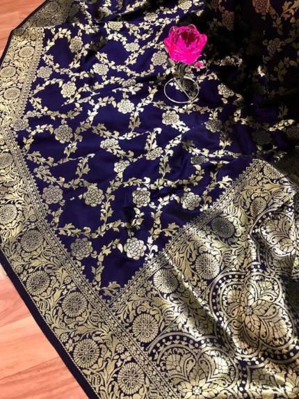 prepossessing Blue Soft Silk Saree