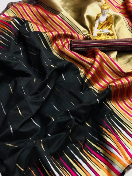 Black coloured Pure Puran Silk saree