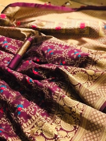 Purple Banarasi saree look for reception