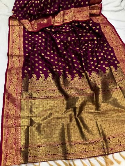 Purple Banarasi silk Party wear saree