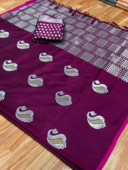 purple silk saree with zari border
