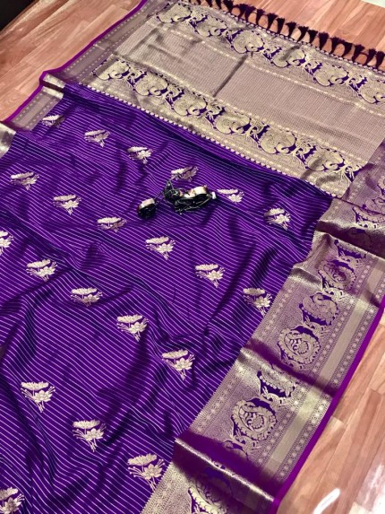 Purple Jacquard Sona Chandi pure zari work saree gnp009750