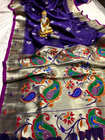 Purple Kanjeevaram silk sarees online shopping