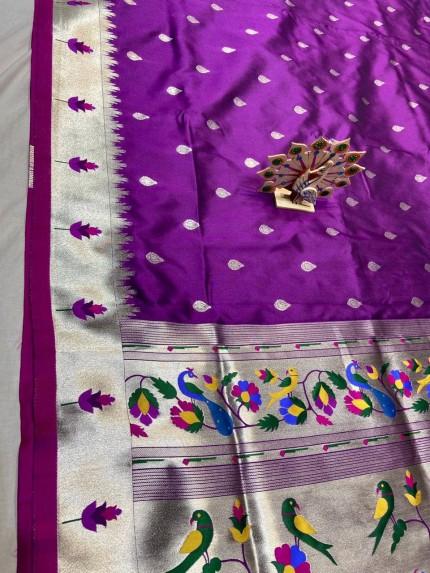 Purple Pethani Silk Blend Festive Wear Saree