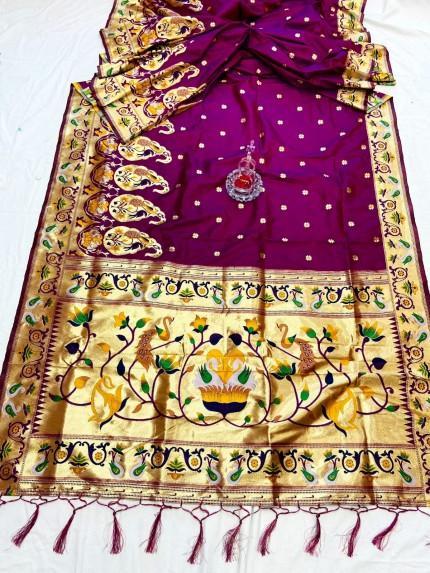 Purple Pethani Silk Saree With Full Jacquard Weaving Big Border - gnp0108790