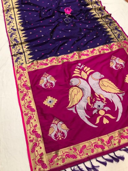 Purple and Pink Function Special Pethani Silk saree