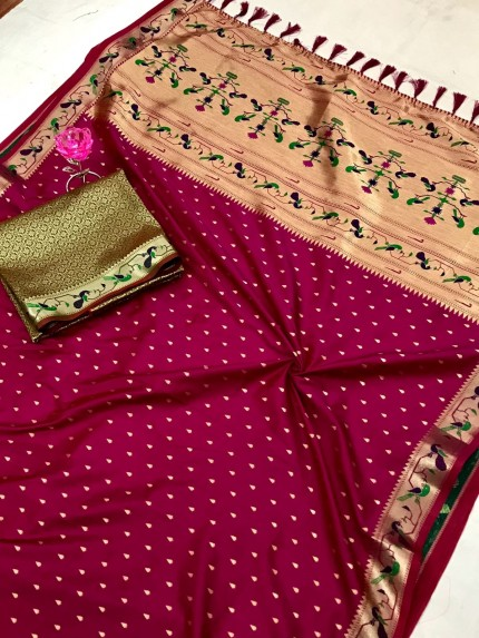 Purple Pure Soft Mina Zari Weaving Paithani Saree - gnp0108747