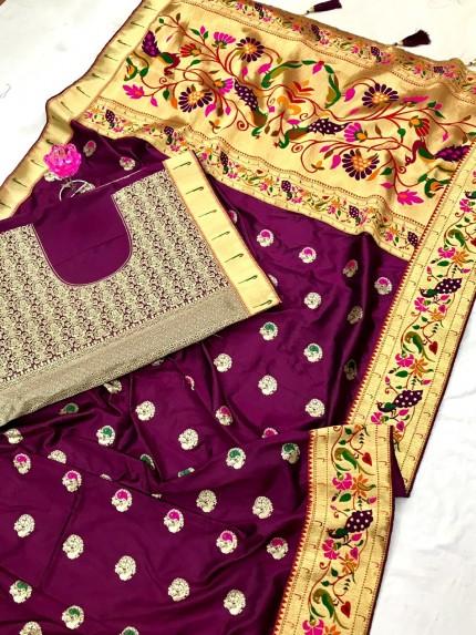 Purple Silk Saree with Full Weaving Border Paithani Saree with Rich Pallu - gnp0108823