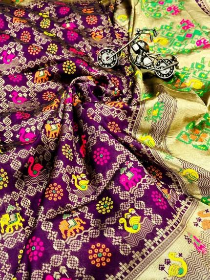 purple saree blouse combination