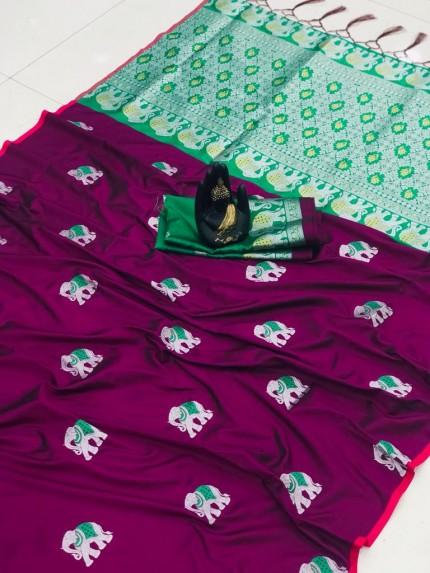grabandpack Purple Soft Lichi silk saree