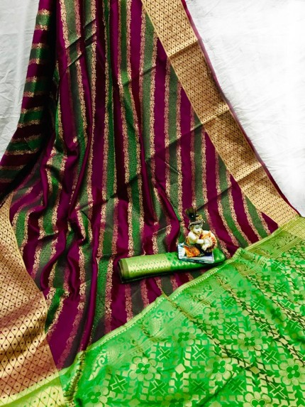 Purple Soft Pure Banarasi Patola Saree with Beautiful Weaving - gnp010055