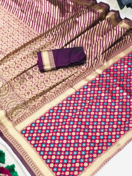 Purple Soft silk south indian style saree by grabandpack