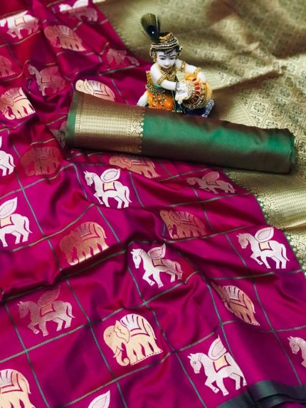 soft silk with gold and silver zari weaving work with rich look and rich pallu (Purple)