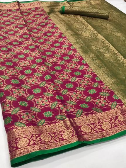 Purple Soft zari Weaving Silk Patola Saree - gnp0108863