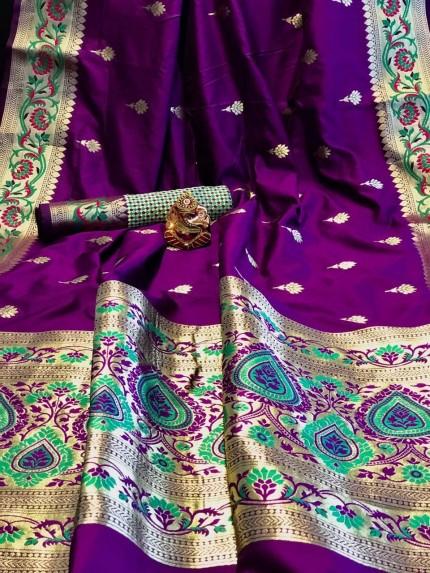 Purple Banarasi Silk Beautiful Saree grabandpack
