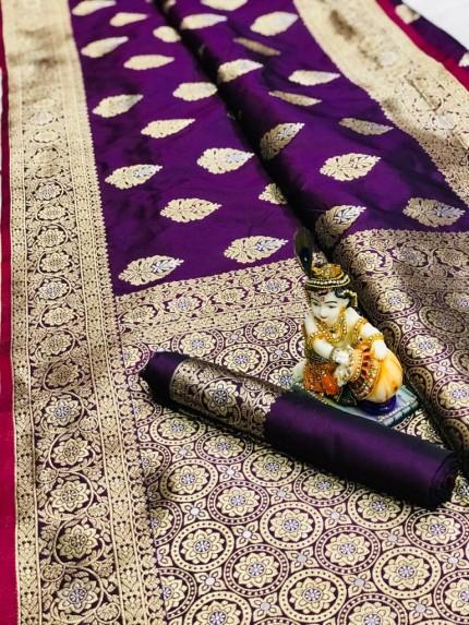 Purple Super Soft Banarasi Silk Saree With Weaving Gold Jari - gnp009664