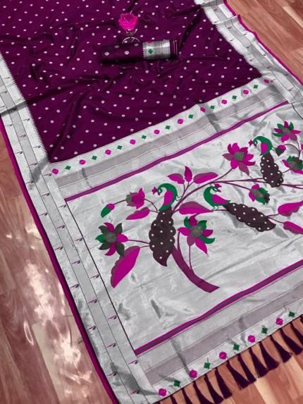 Purple Zari Woven Kanchipuram Silk Saree grabandpack