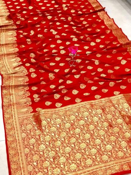 Red Banarasi Soft Silk Saree