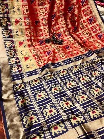 GrabandPack Red Coloured Soft silk saree