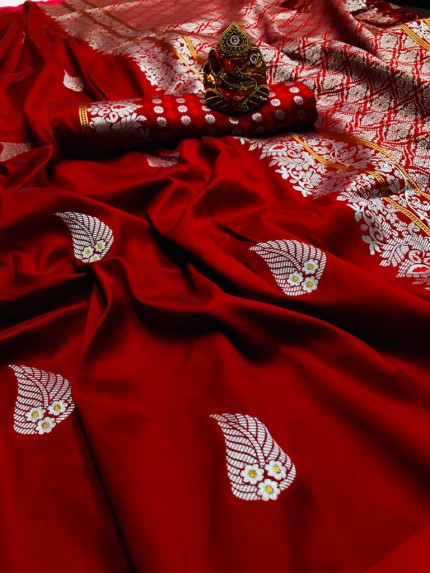 Red Colored Soft Lichi Silk Saree with Silver and Gold Zari - gnp009673