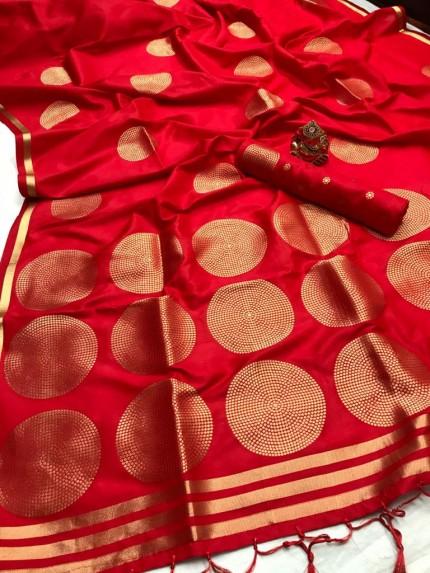 GrabandPack Red Coloured Lichi silk saree
