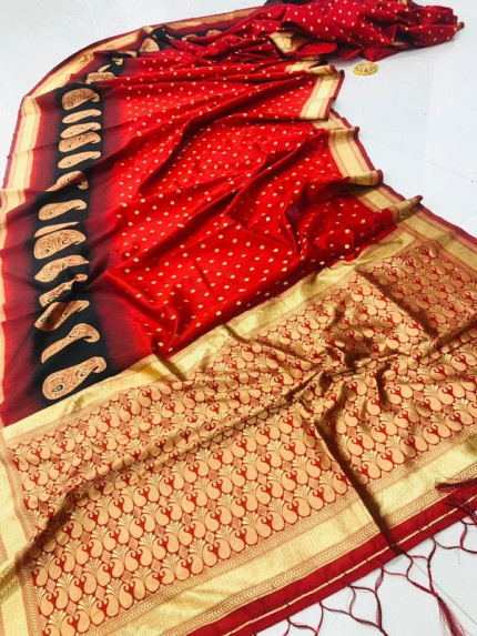 Fancy heavy Banarsi silk stylish Designer saree (Red) gnp008105