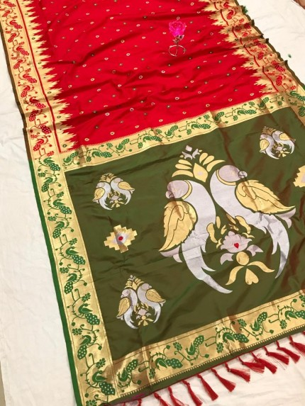 Red and Green Function Special Pethani Silk saree