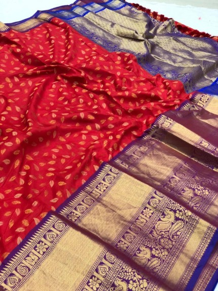Red kanchipuram silk saree by grabandpack.com