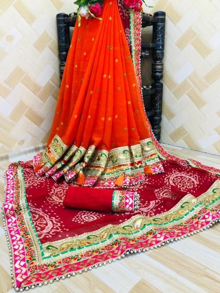 Red maroon Bandhani party wear Half and Half saree