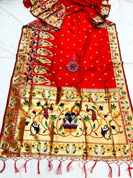 Red Pethani Silk Saree With Full Jacquard Weaving Big Border - gnp0108791