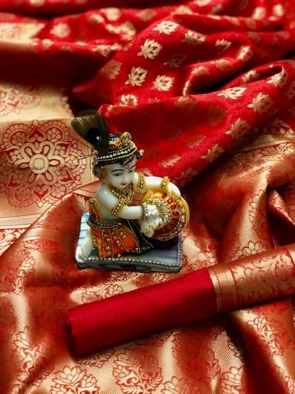 Red Pure Banarasi Soft Silk Saree with Zari Weaving - gnp010006