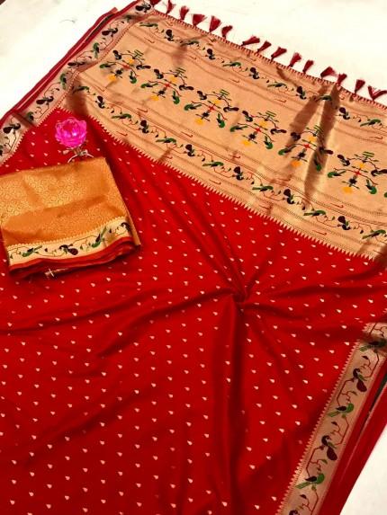 Red Pure Soft Mina Zari Weaving Paithani Saree - gnp0108748
