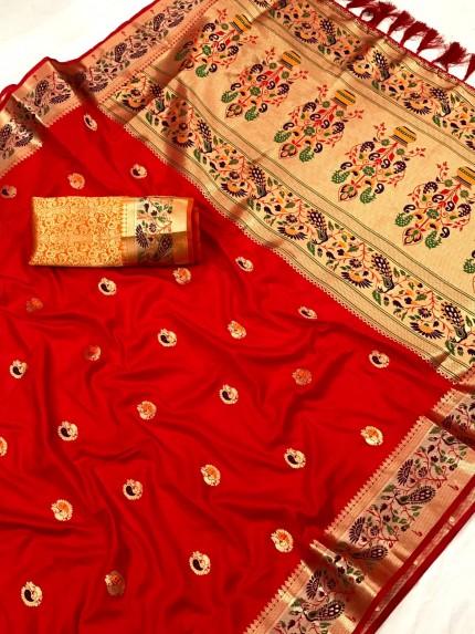 Red Pure Zari With Heavy and Minakari Pallu Saree - gnp0108701