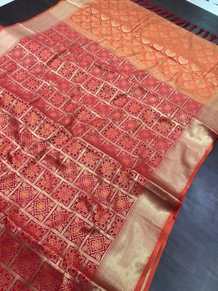 Red soft Banarasi Patola silk Saree at grabandpack