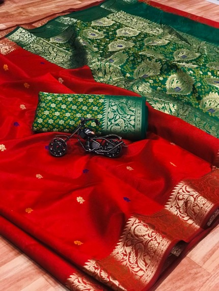 Red Soft Banarasi Weaving Silk Saree - gnp008667