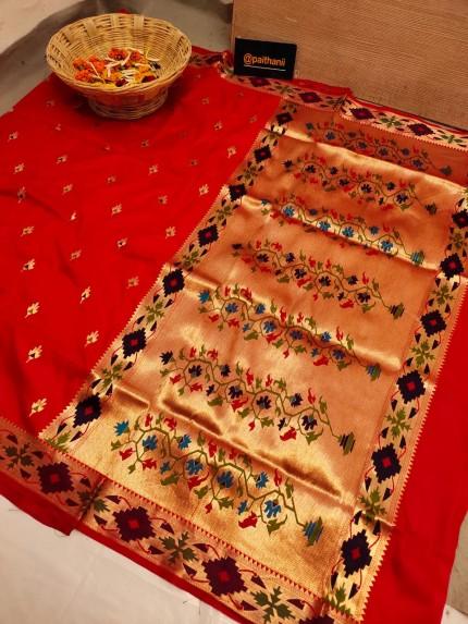 GrabandPack Red Soft Paithani Silk Party wear Saree
