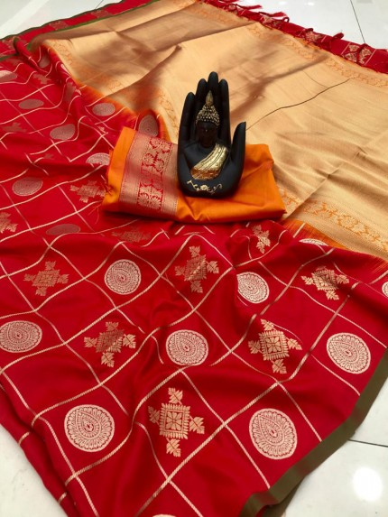 Latest Red checked pattern soft silk saree
