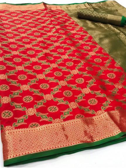 Red Soft zari Weaving Silk Patola Saree - gnp0108864