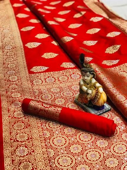 Red Super Soft Banarasi Silk Saree With Weaving Gold Jari - gnp009665