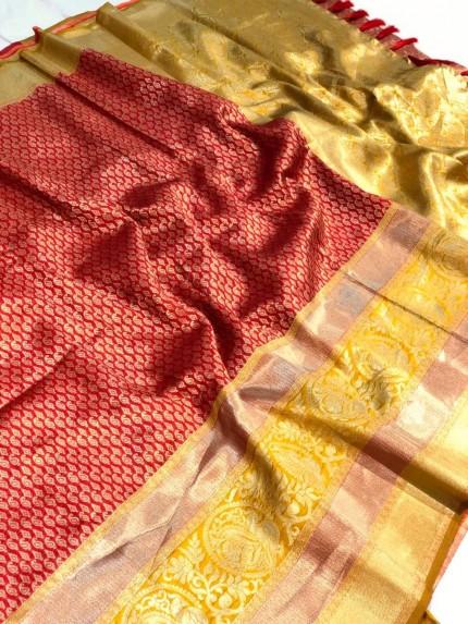 red saree look