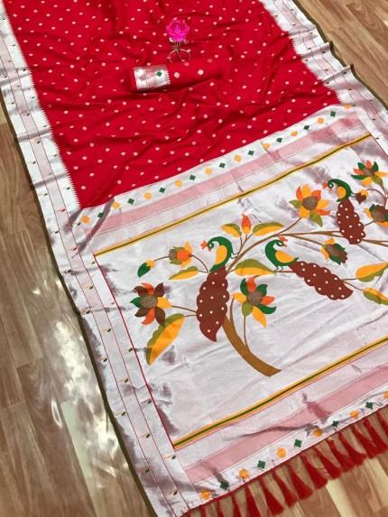 grabandpack Red Zari Woven Kanchipuram Silk Saree