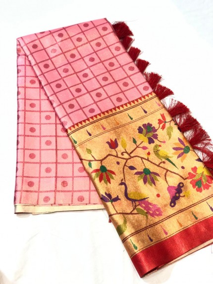 Pink color Soft Satin saree