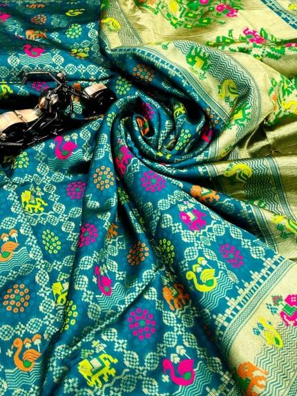 Sea Blue Soft Banarasi Silk Unique Saree
