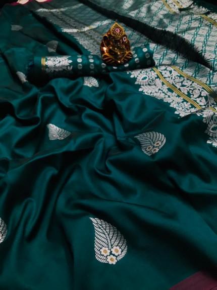 Sea Green Colored Soft Lichi Silk Saree with Silver and Gold Zari - gnp009674