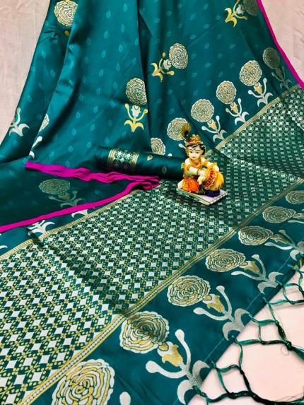 Sea Green Lichi Silk with Zari Weaving Saree - gnp010063