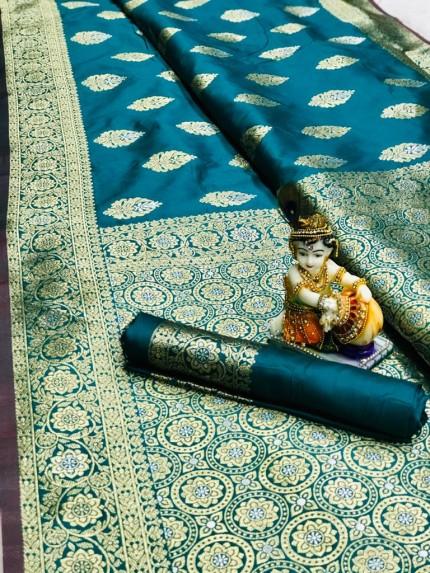 Sea Green Super Soft Banarasi Silk Saree With Weaving Gold Jari - gnp009666