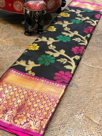 Semi handloom ikkat silk zari weaving saree in Black