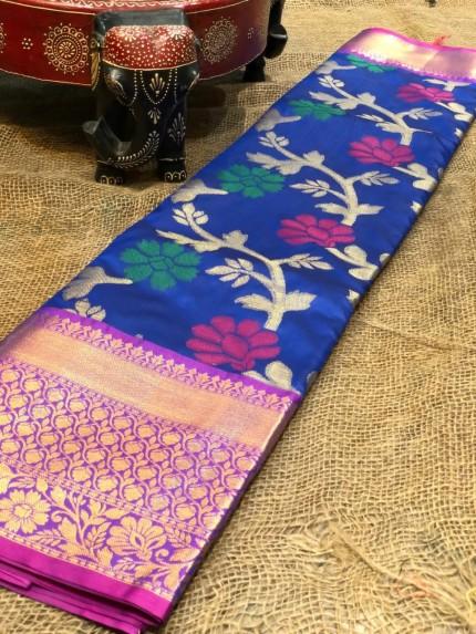 Semi handloom ikkat silk zari weaving saree in Blue