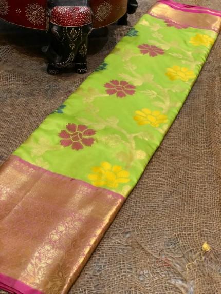 Semi handloom ikkat silk zari weaving saree in Green
