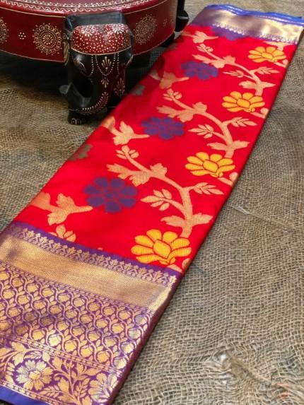 Semi handloom ikkat silk zari weaving saree in Red
